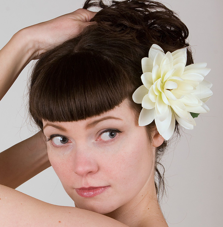 Lotus Hair Flower Fascinator - Retro Pin-Up Girl Style - Bridal, Wedding, Prom. $24.00, via Etsy.