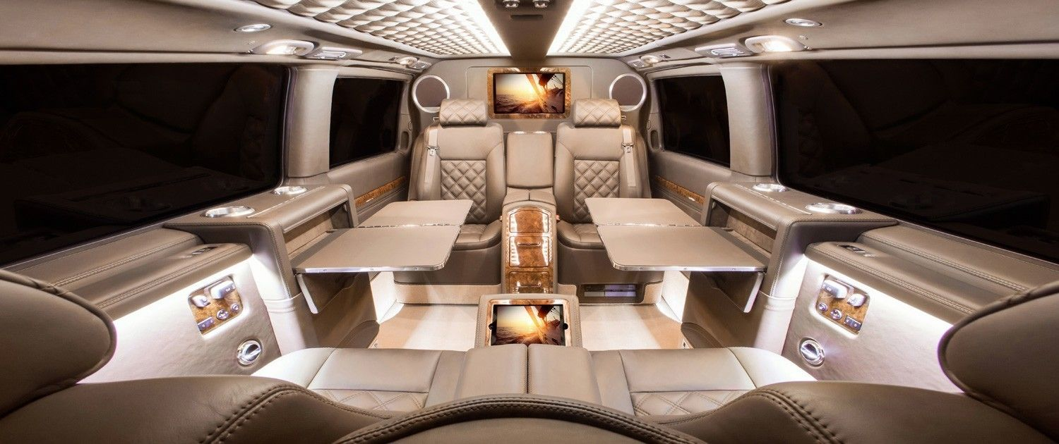 Luxury Passenger Van In Double Stitched Brazil Prima Nappa Mercedes Sprinter Luxury Van Rv Solar Power