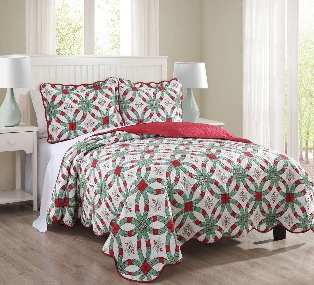 3 Piece Queen Snowflake Red and Green Quilt Set   Ease Bedding ... : red snowflake quilt - Adamdwight.com