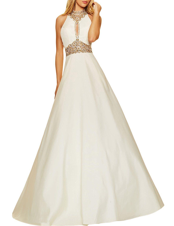 Pinkmemory womenus long prom dresses beaded high neck evening