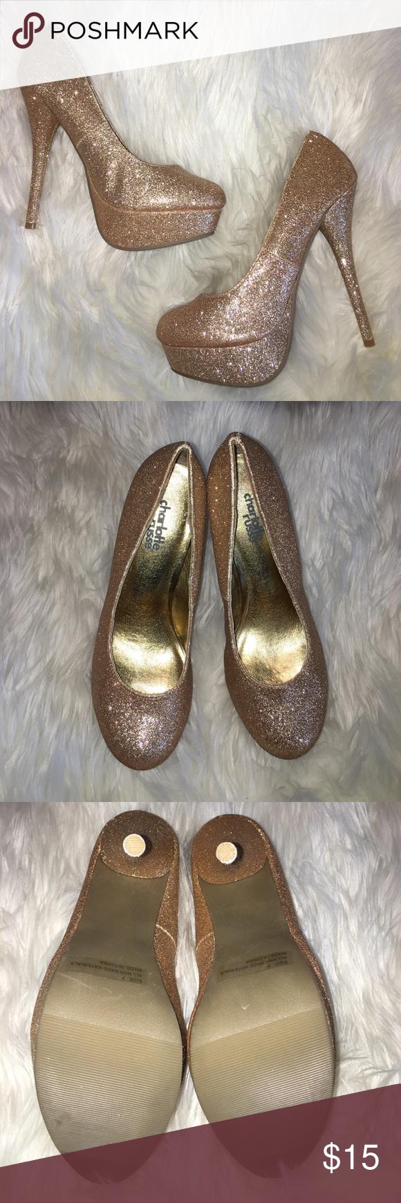 NEW✨ glitter heels New *no box* Charlotte Russe gold glitter heels - size 7 Charlotte Russe Shoes Heels