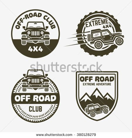 Set Of Four Off Road Suv Car Or 4x4 Extreme Club Monochrome Labels