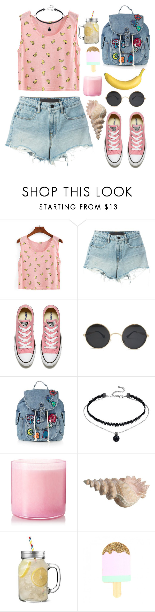 """🍌🍌🍌🍌🍌"" by hermiona355 ❤ liked on Polyvore featuring T By Alexander Wang, Converse, Topshop and LAFCO"