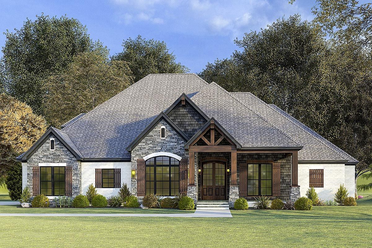 Plan 70676mk 4 Bed Country House Plan With Vaulted Ceiling And Bonus Room Brick House Plans Brick Exterior House Ranch House Exterior