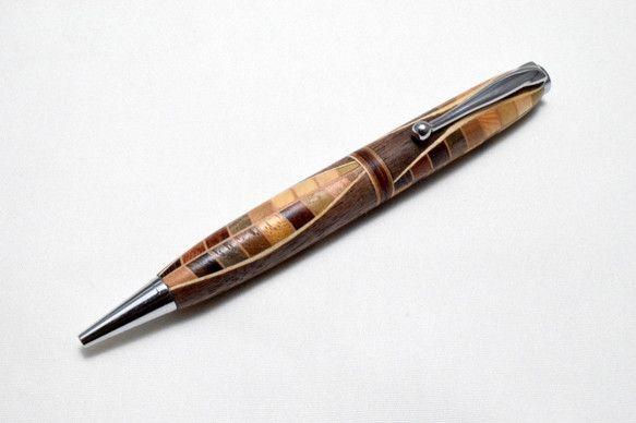 【寄木】手作り木製ボールペン スリムライン CROSS替芯 文房具・ステーショナリー micchi- ハンドメイド通販・販売のCreema