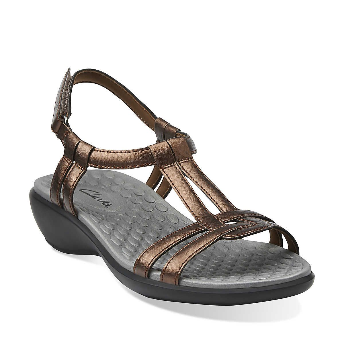 Sonar Aster in Bronze Synthetic - Womens Sandals from Clarks