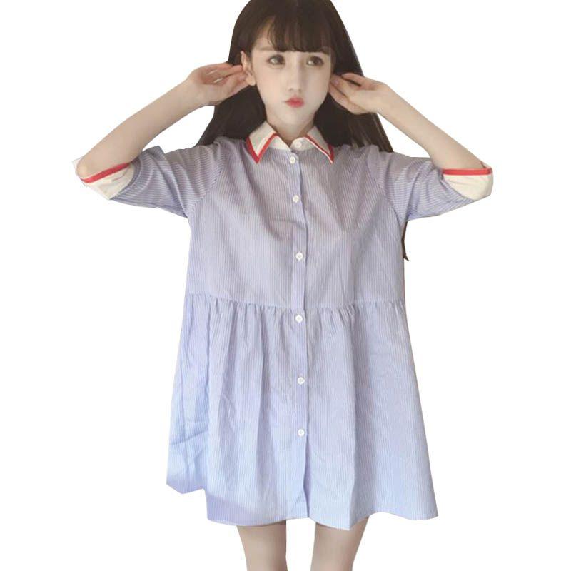 17dd57488080 Japan Style Women s Summer Dress Harajuku Young Girl Air Blue Doll Collar  Strip Princess Cotton Shirt
