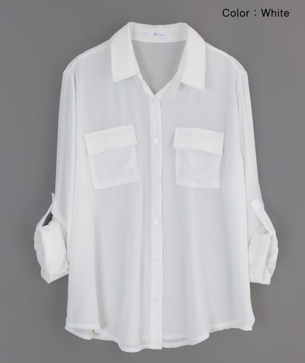 fc877c00b2698 Annakastle New Womens Semi-Sheer Chiffon Button-Down Pocket Utility Shirt  Blouse