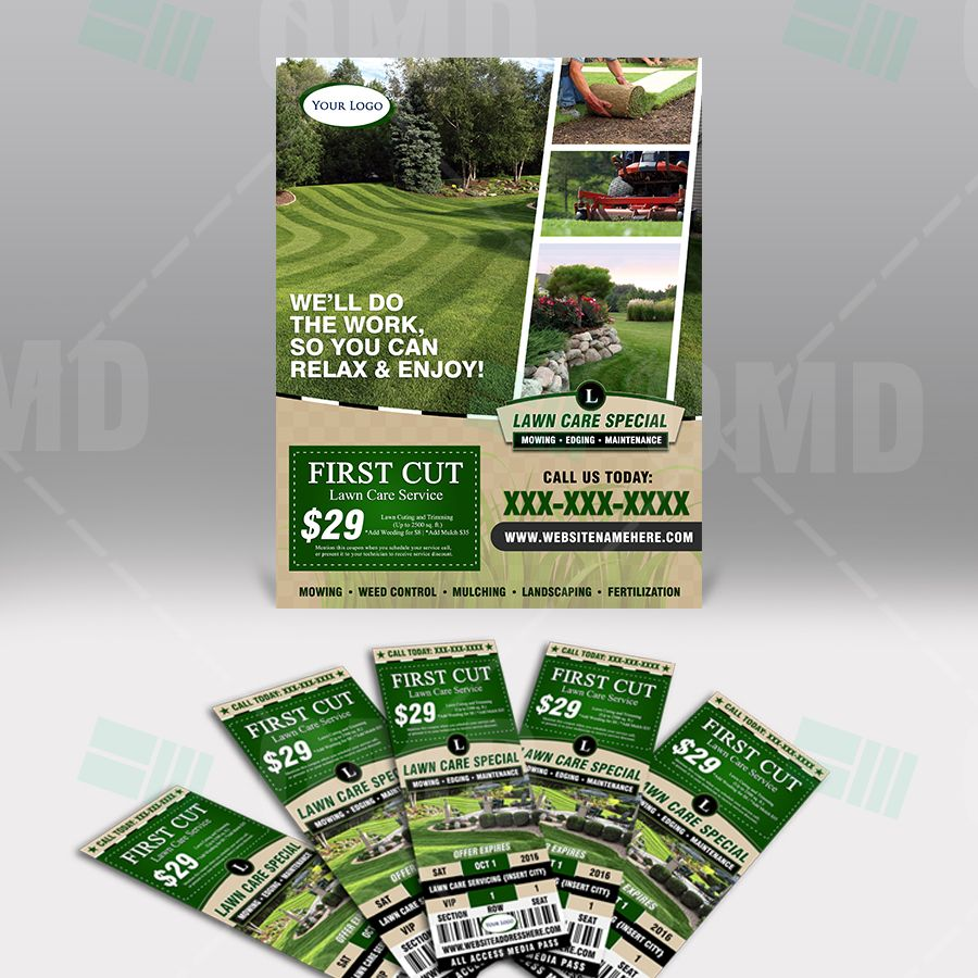 lawn care business marketing flyer template by the lawn market flyer ticket bundle lawn care branding lawncaremarketing