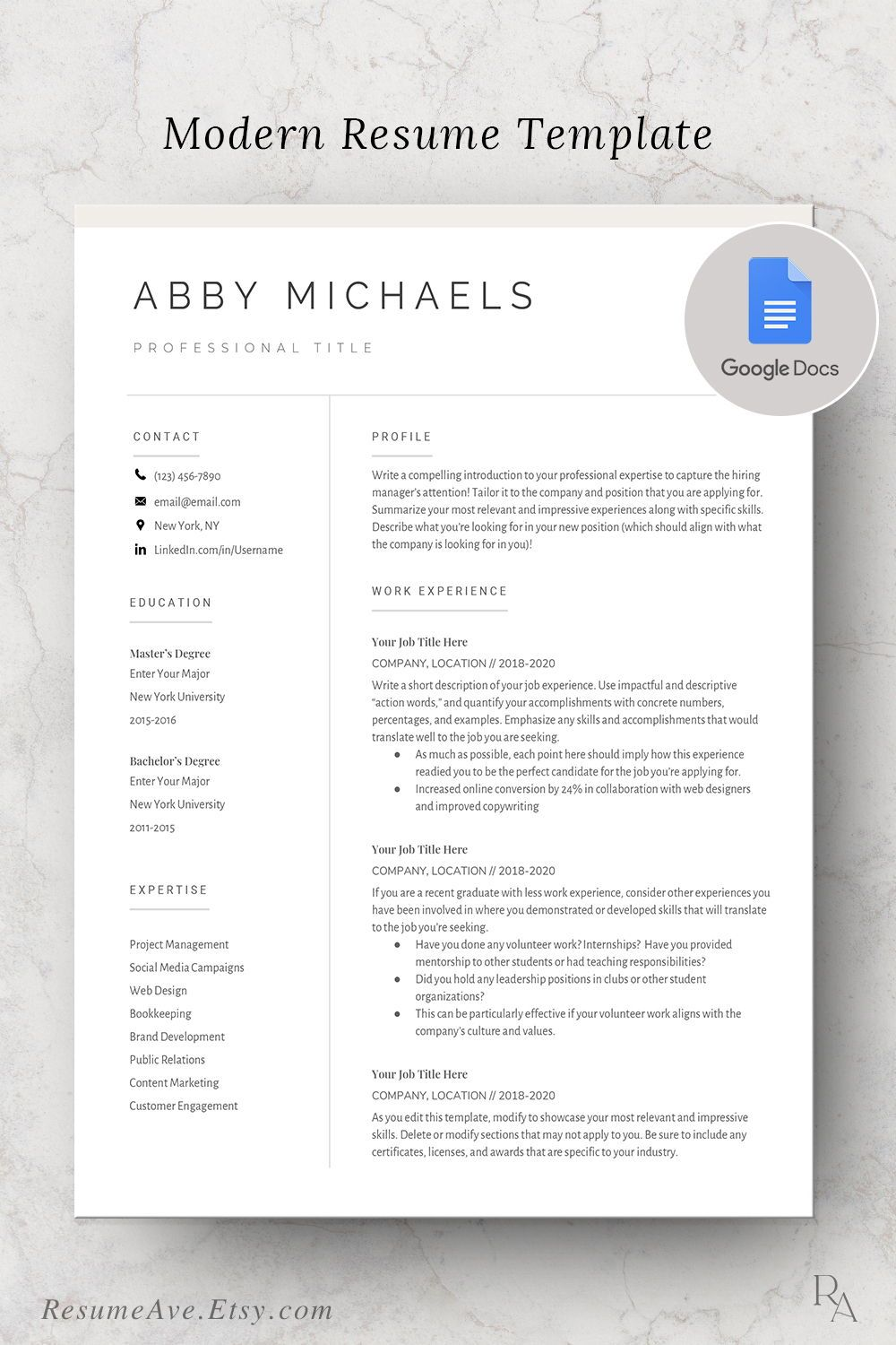 Modern google docs resume / cv template, nurse resume / cv