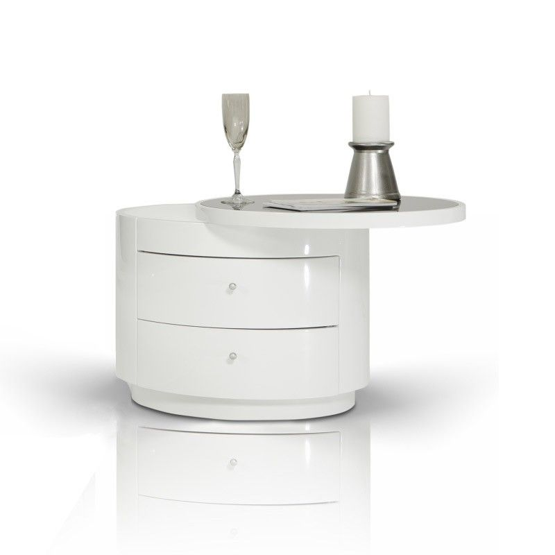 Symphony Modern White Round Nightstand Bedroom Night Stands