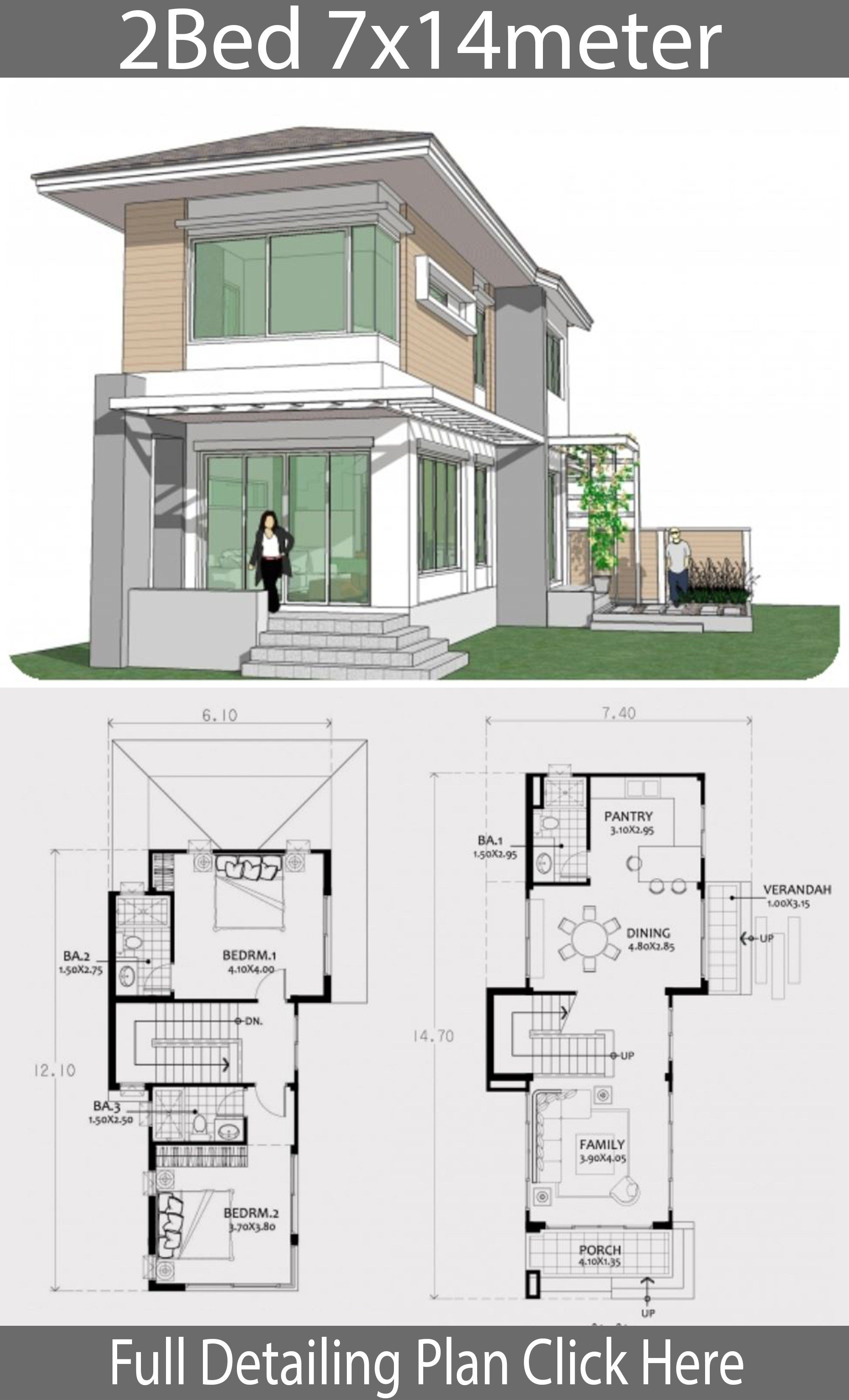 Small Two Story House Plan 7x14m Home Design With Plan Cottage Style House Plans Modern House Plans Small Modern Home