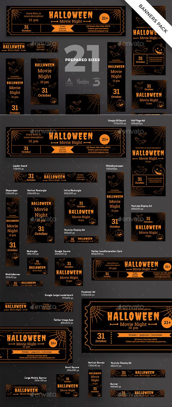 halloween banner pack template psd vector eps