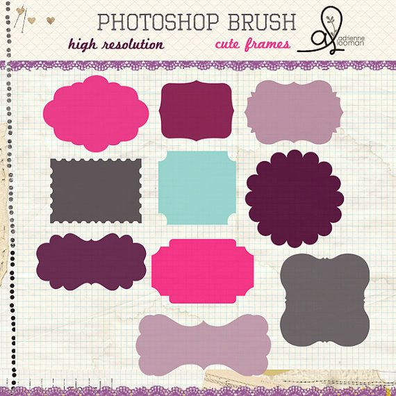 Photoshop brush 10 cute frames no 1 INSTANT DOWNLOAD   Free