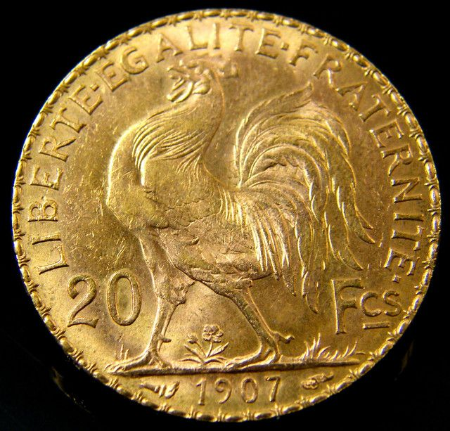 Unc 1907 French Rooster Gold Coin 20 Francs Co 145 France Coins