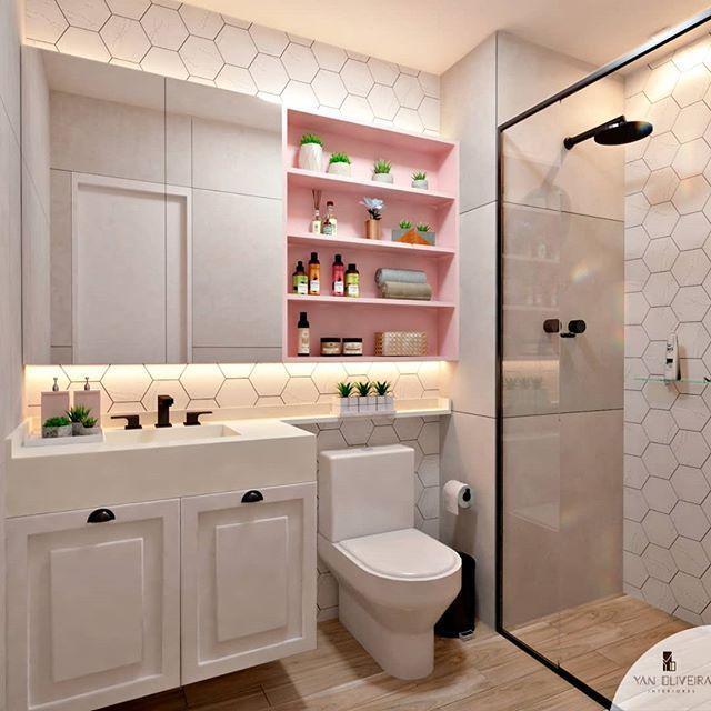 Mais um projeto aprovado  👏👏 Combinação perfeita de cinza, rosa e amadeirado  O que acharam  😍😍 is part of Restroom design -