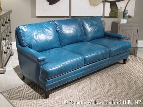 Turquoise Leather Sofa  Country Willow Furniture