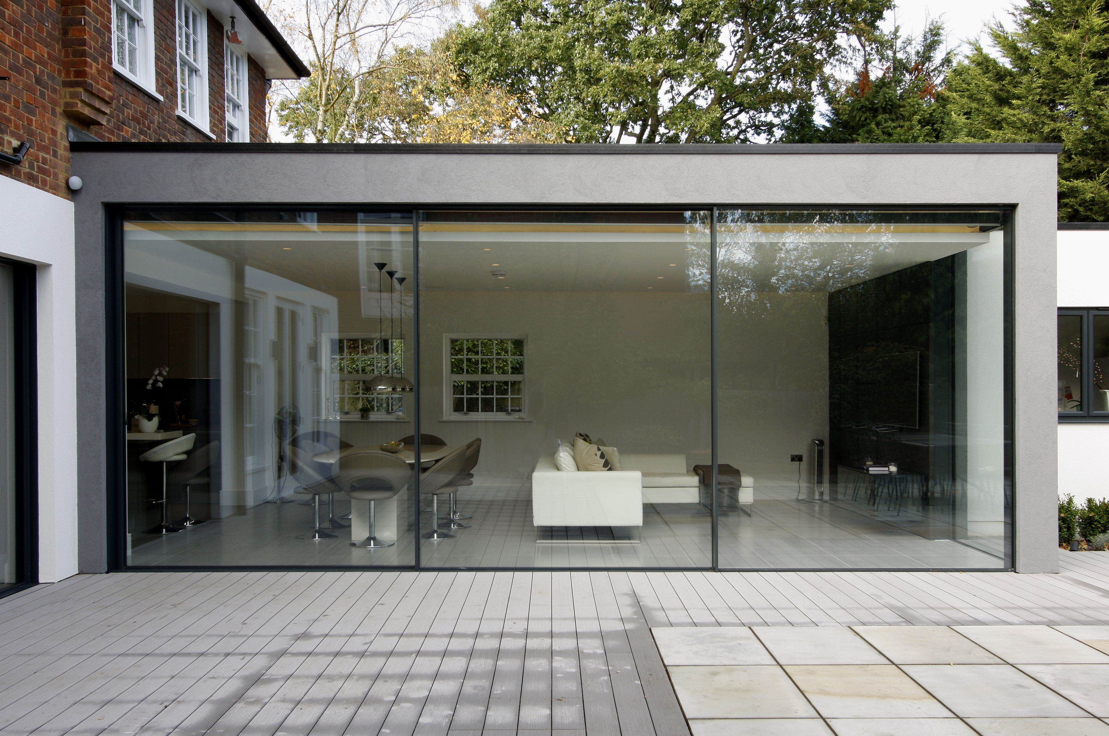Modern exterior sliding doors - Modern Patio Doors Exterior View Of Minimal Windows To Rear Extension In London Showcasing Their Minimal Framing Www