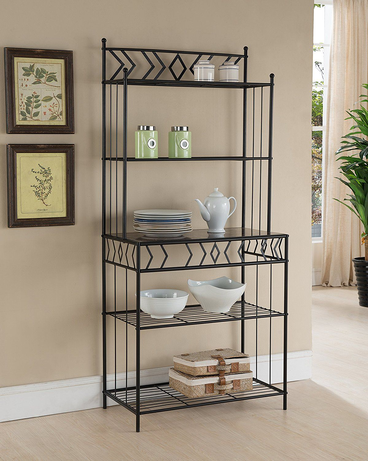 Amazon Com Kings Brand Furniture Metal With Marble Finish 5 Tier
