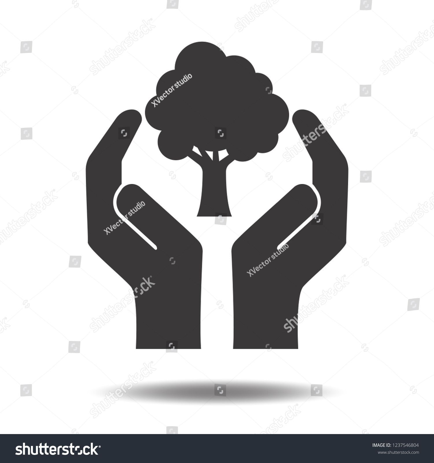Hands holding tree icon vector flat sign symbols logo illustration isolated on w