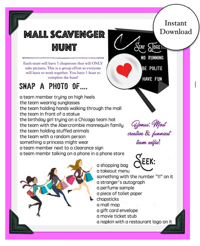 Mall Scavenger Hunt GameInstant Download in 2020 Mall