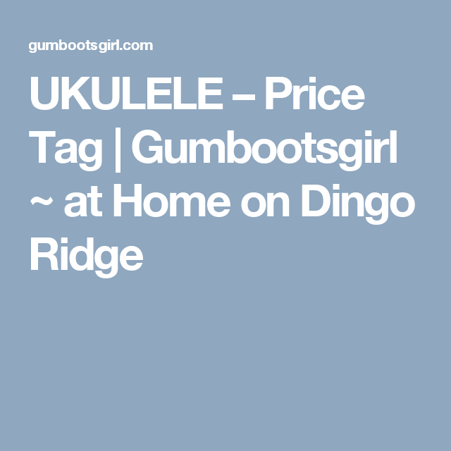 UKULELE – Price Tag | Gumbootsgirl ~ at Home on Dingo Ridge | N-UKE ...