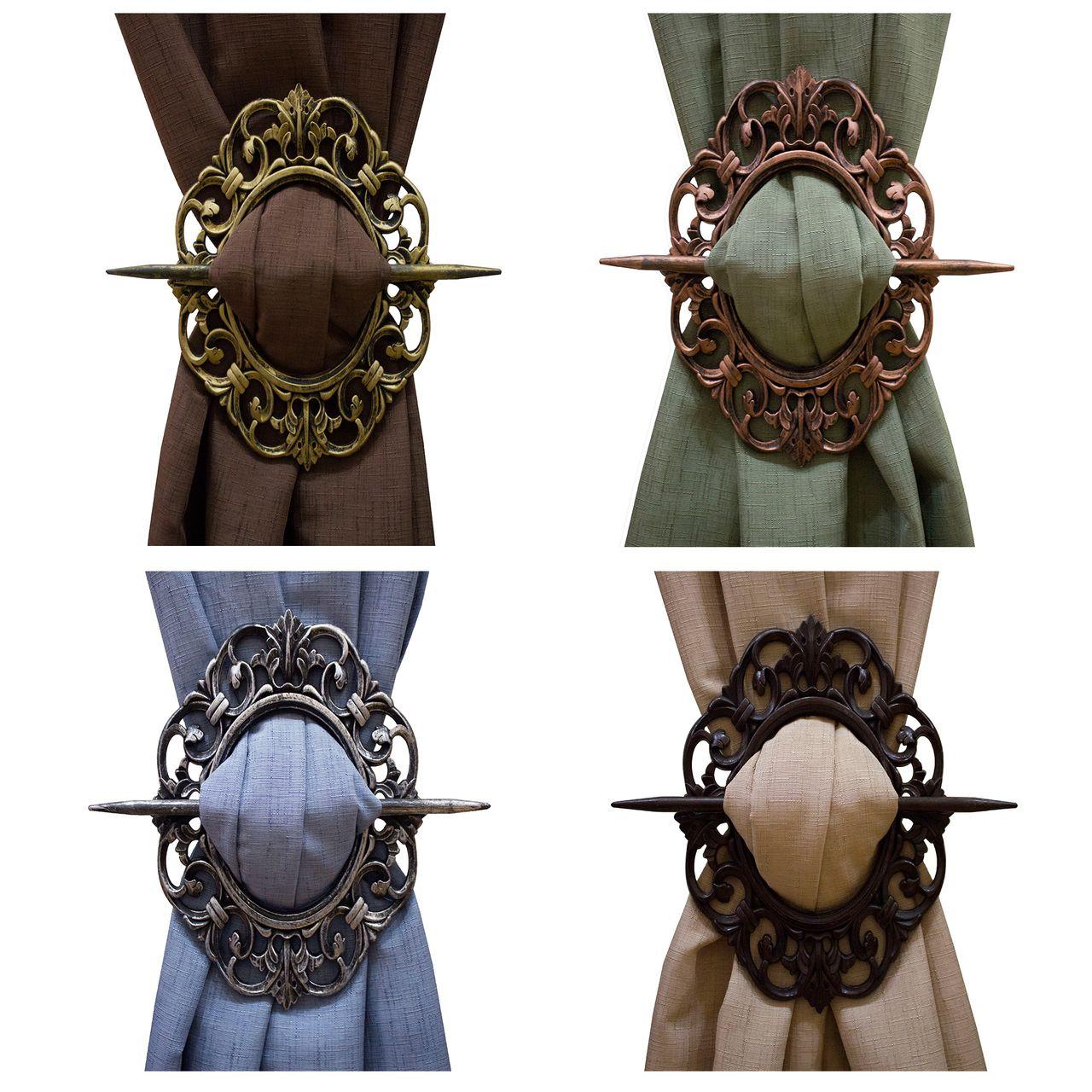 Bronze Medallion Curtain Holdbacks With Images Drapery Holdbacks