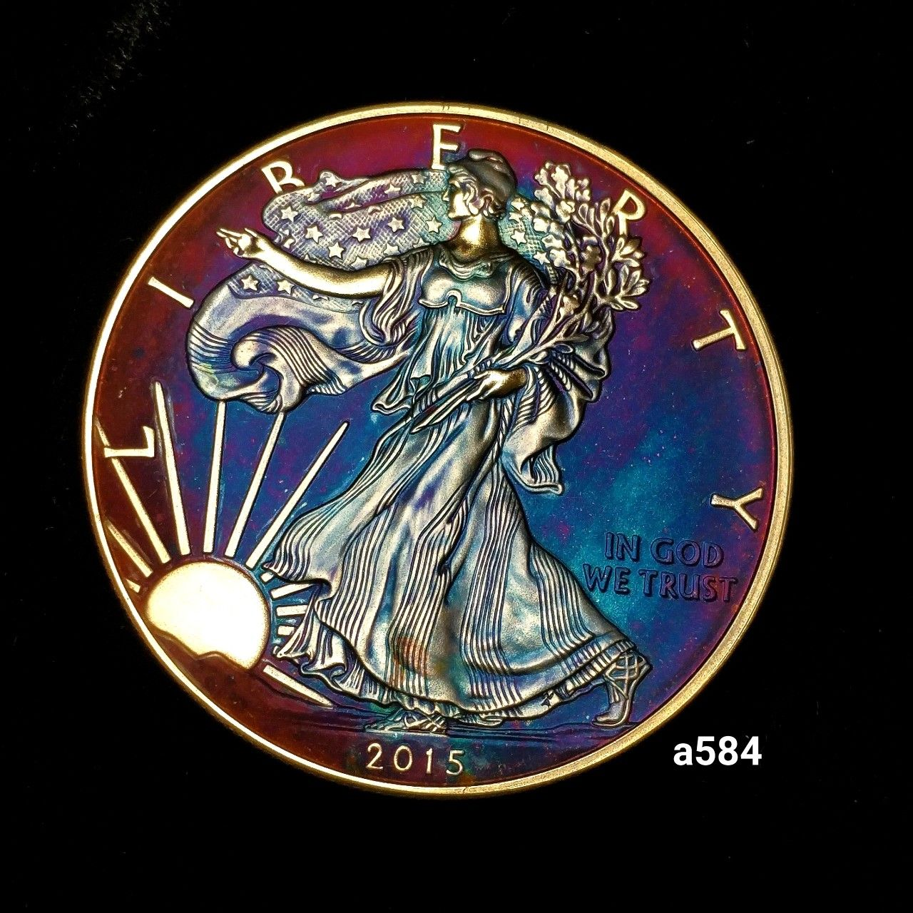Rainbow Toned Silver American Eagle Coin 1 Troy Ounce Fine Silver Uncirculated High Grade Artistic In 2020 Eagle Coin Silver Eagle Coins Fine Silver