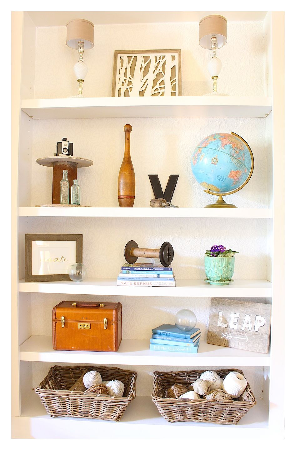 Bookcase Makeover With Textured Paintable Wallpaper And Vintage Finds