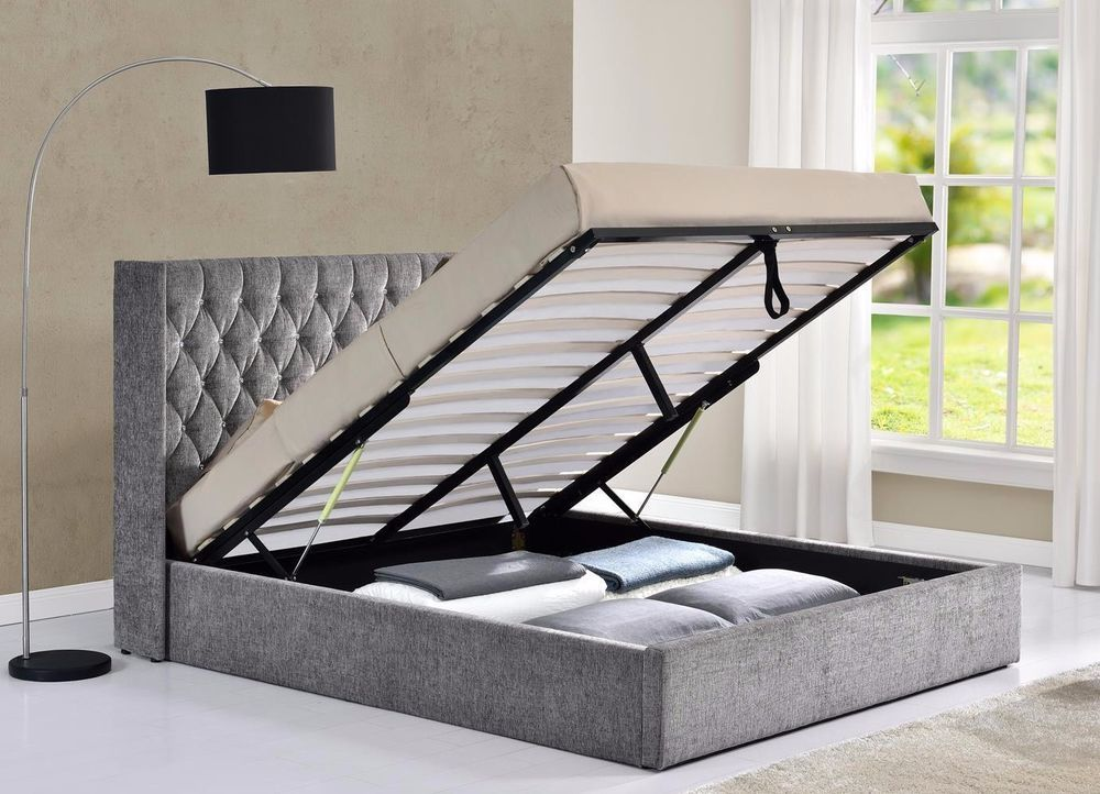 Excellent Details About Ottoman Winged Back Fabric Bed Frame Velvet Caraccident5 Cool Chair Designs And Ideas Caraccident5Info