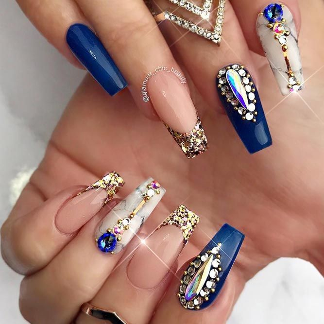 Cobalt Blue Nails Designs Marble Gold Glitter Tips Rhinestones Top