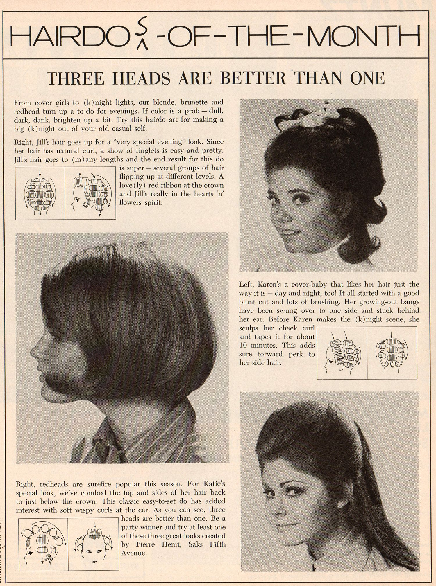 Hairdo Of The Month Roller Setting Pattern 1960 S Vintage