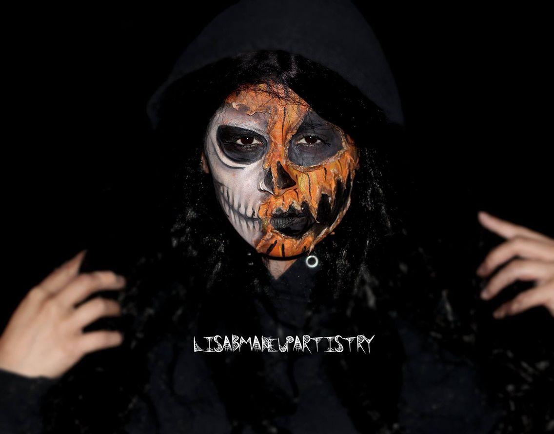 Half skull & Pumpkin face SFX makeup By: lisabmakeupartistry ...