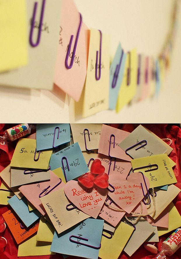 I'm going to Senegal for two months and leaving my boyfriend behind, so I've made him a Valentine's box of reasons I love him, one for each day I'm away. Underneath, there's a selection of seven fun gifts, and on seven random days that I've marked as lucky dips on the cards, he also gets to pick a gift! It took a while, but it's just rectangles of coloured paper cut up and folded in half, with the message inside, and the date on the outside, paperclipped to a long piece of string.