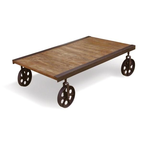 Picture Showing RE Engineered Rustic Cart Coffee Table On Wheels