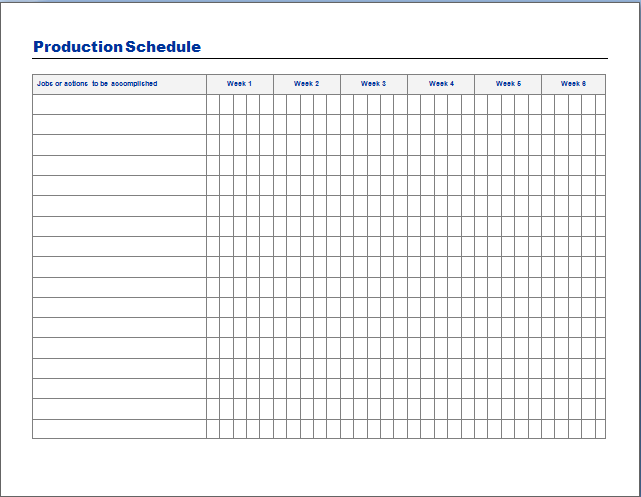 Free Production Schedule Template  Yahoo Search Results