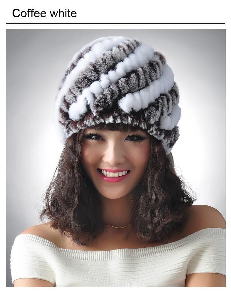 3f41bd147b0 New Knitted genuine natural REX rabbit fur hat cap headgear headdress women  warmer skullies Wholesale Free shipping