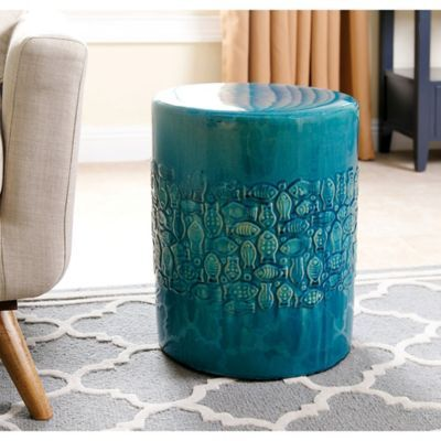 Groovy Abbyson Living Bali Ceramic Garden Stool In Teal In 2019 Lamtechconsult Wood Chair Design Ideas Lamtechconsultcom