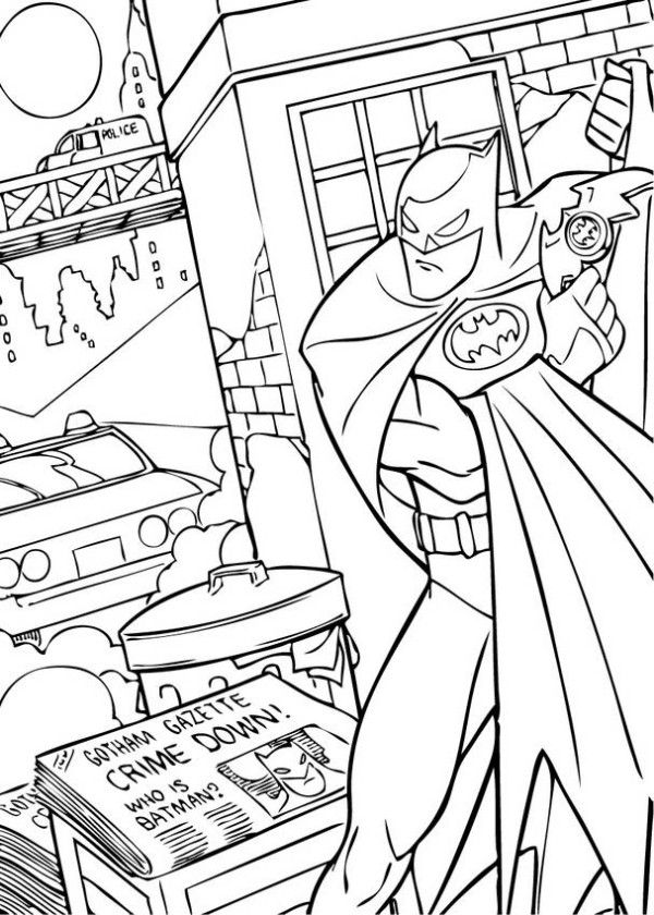 Batman Fighting Crime Coloring Page Boys Pages Action Free Online And Printable