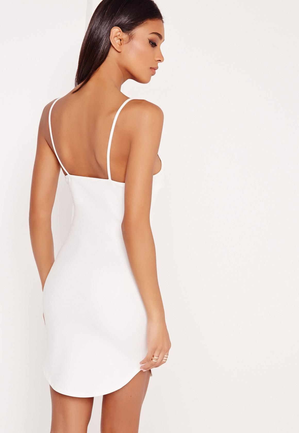 Strappy Plunge Bodycon Dress White Missguided Dresses Women Dress Online White Bodycon Dress [ 1680 x 1160 Pixel ]
