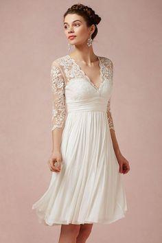 Robe de mariée courte à manche dentelle bohème mi longue  18a91d9e61f