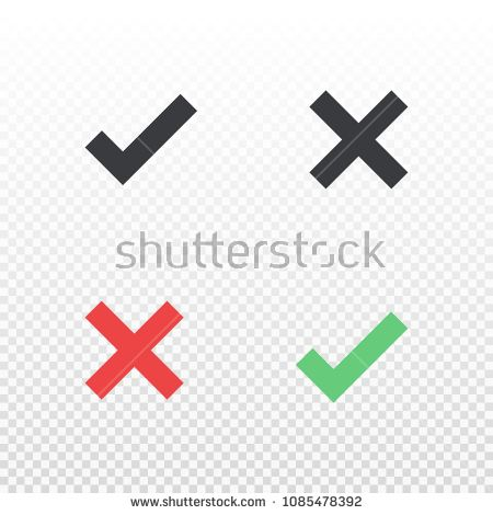 Vector Line Icon Cancel And Approve Black Red And Green Cross And