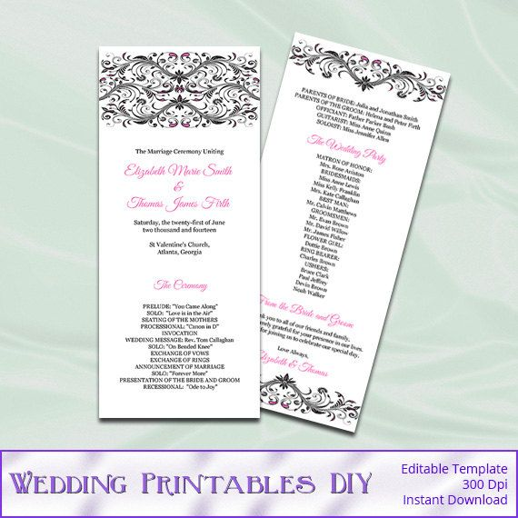 Hot Pink and Black Wedding Program Templates - Diy Printable Tea - program templates word