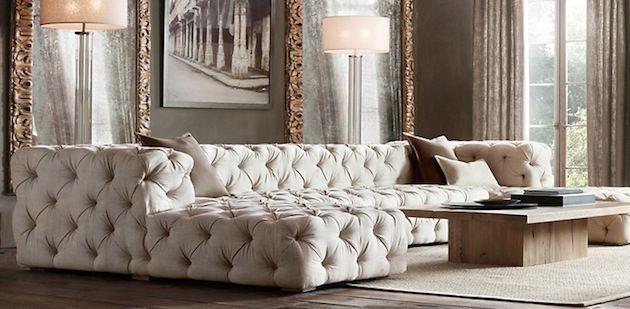 Design Bank Wit Leer.Gigantische Sofa Van Gecapitonneerd Wit Leer Home Decor Home
