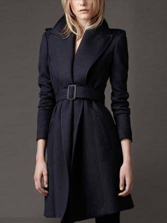 Mulheres cintura fina beliscou casaco longo casaco de lã