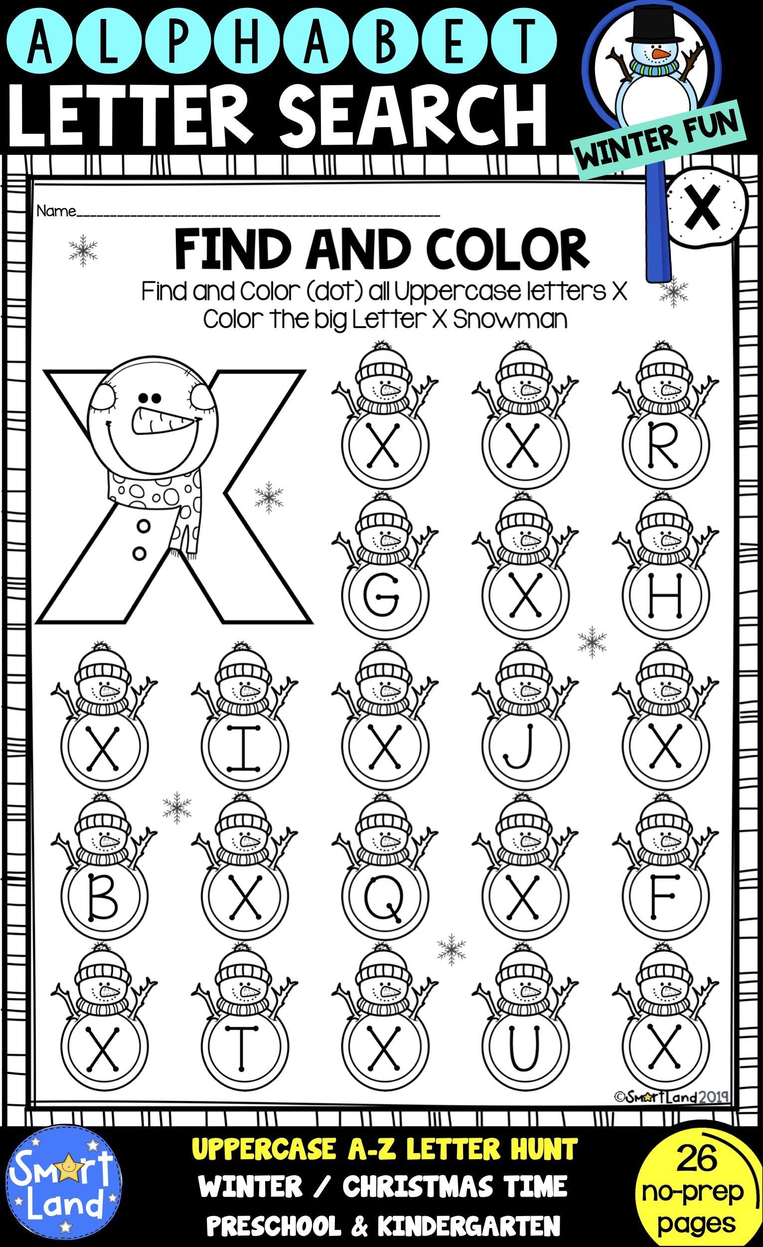 Alphabet Practice Letter Search Snowman