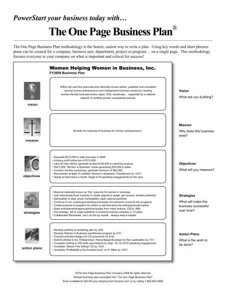 Sample Business Action Plan One Page Business Plan Template Free