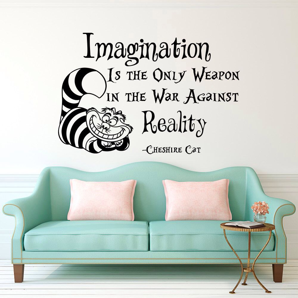 Wall decal alice in wonderland cheshire cat quote imagination is the