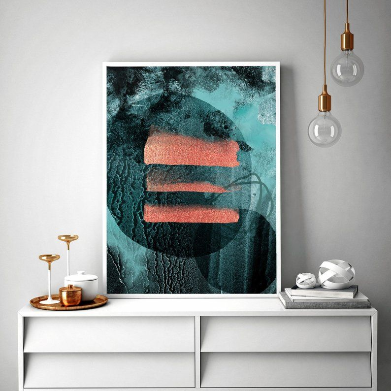 Downloadable Abstract Print Teal Orange Wall Art Wall Art Etsy Orange Wall Art Etsy Wall Art Abstract Print Teal and orange wall art