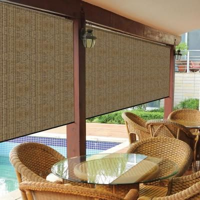 Coolaroo Walnut Cordless Exterior Roller Shade 120 In W X 96 L 460082 The Home Depot